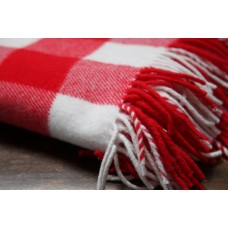 Crimson & White Check Throw. BBT01