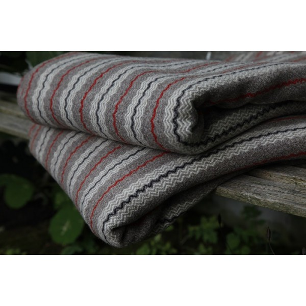 C19th Red & Grey striped Welsh blanket NL124