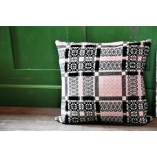 Melin Tregwynt Knot Garden Shell Pink & Charcoal cushions CZ21