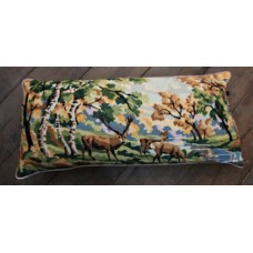 Large Bolster cushion. Grazing deer. CZB02
