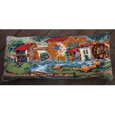 Bolster cushion. Country scenes.  Water Mill CZB01