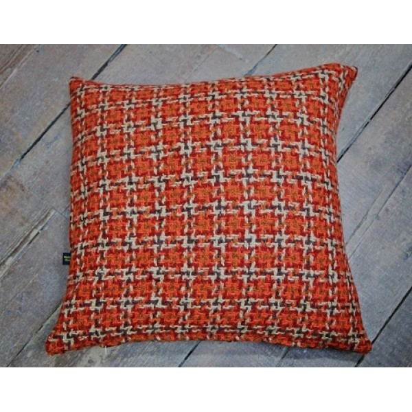 Burnt Orange Dogs tooth Check cushion CZ50