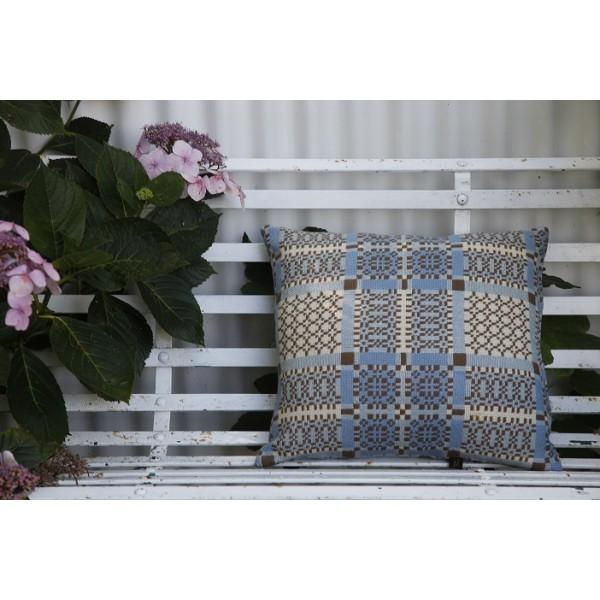 Knot Garden . Melin Tregwynt Vintage cushion. Flax Blue & Chocolate CZ32