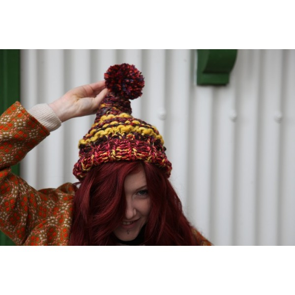 Hand knitted slouch bobble hats
