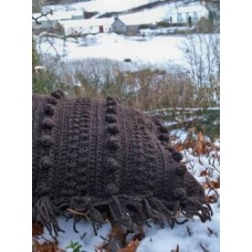 Hand crocheted cable Cushion      Mynydd ddu