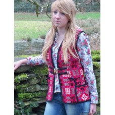 Cherry Red, Black & Cornflower Gilet   SMALL