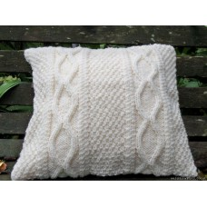 Pure wool hand kniited aran style cushion. Celtic chain CZ39