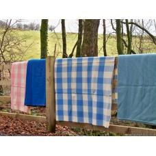 Wedgewood Blue vintage pure wool Welsh blanket CC22