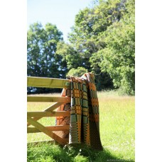 Caernarfon tapestry in Biscuit, Teal & Orange Welsh blanket TBV08