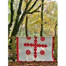 Antique applique quilt in Turkey Red & White Cotton Q04