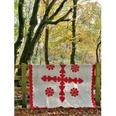 Antique applique quilt in Turkey Red & White Cotton Q04