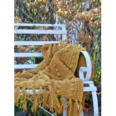 Hand crocheted bobble throw in Mustard T12