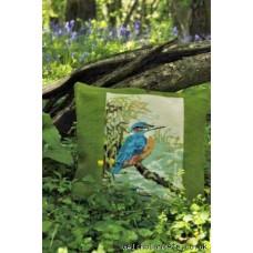 Kingfisher needlepoint cushion CZT21