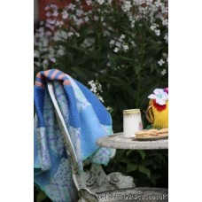Hand knitted Bluebell patchwork throw GS64