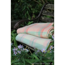 Geranium Pink & Peppermint Green plaid double blanket CP177