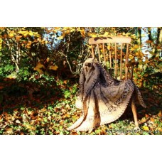 Hand knitted scalloped blanket in Autumn hues GS66