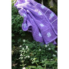 Lavender & Anenome hand crochet throw GS12