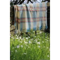 Welsh Birdseye Weave carthen blanket. Soft pastels. FB136