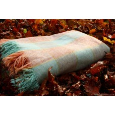1930s` Soft muted checkerboard carthen Welsh blanket FB65
