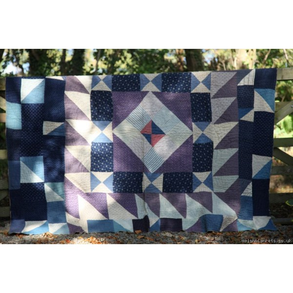 South Wales patchwork quilt in Blue Q123
