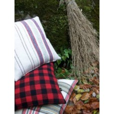 Cranberry & Black check Flannel cushions   CZ44