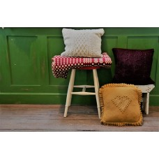 New Hand knitted pure wool cushion. Mustard Heart