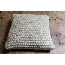 Hand knitted pure wool cushion. Natural Cream CZK10
