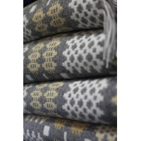 Flannel Grey & Maize Caernarfon Welsh blanket tapestry TBN18