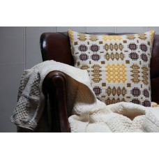 Hand knitted Pure wool throw Checkerboard