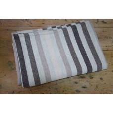 Melin Tregwynt . Multi stripe Wool Blanket. Driftwood TBT29